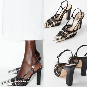 Zara Braided High Square Heel Shoes Houndstooth